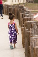 young girl walking