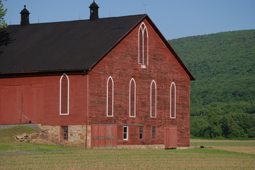 red bank barn in spring