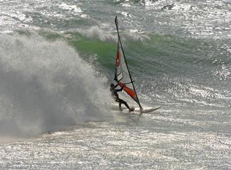 fast moving windsurfer