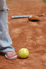 flip flops and softball (close up)