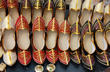 arabic shoes aligned in a shop