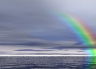 overcast landscape. rainbow