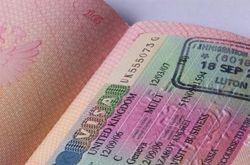 uk visa in passport