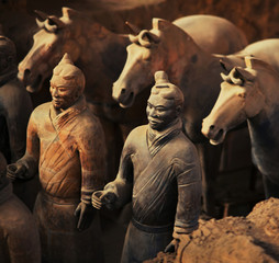 Deurstickers Xian warriors and horses