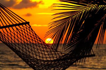 Fototapeta palm, hammock and sunset obraz