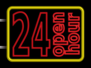 neon sign 24hr open