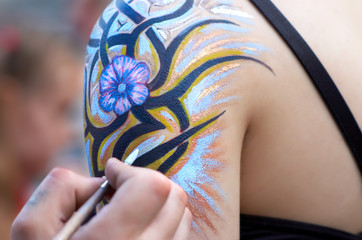 body painting in process.