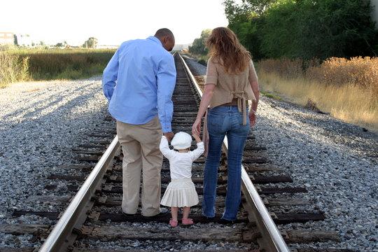 family on train trax