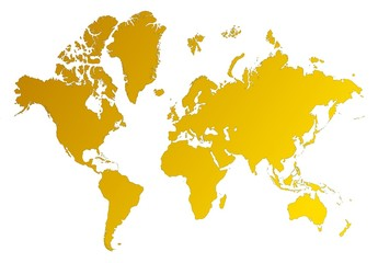 Deurstickers Wereldkaart detailed orange gradient map of the world