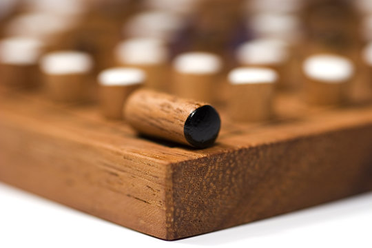 wooden handmade game reverse close-up