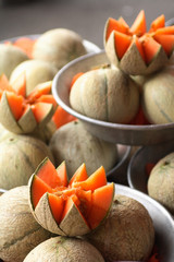 cantaloupe melons at the market stall.