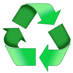a green recycle symbol