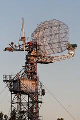 airport radar at sunset