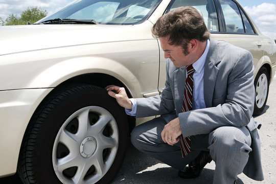 flat tire with screw