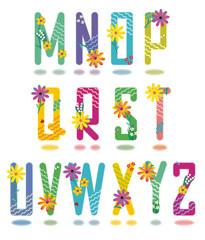 Spring or summer alphabet full set letters M - Z