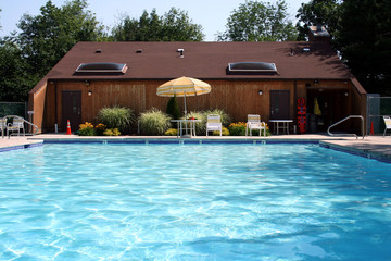 Swimming pool and pool house