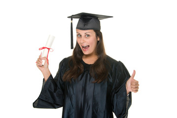 Young Woman Graduate Receives Diploma 9