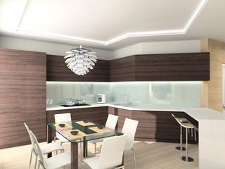 modern comfortable kitchen. 3D render. Hi-tech design