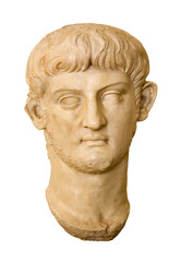 Marble head of Nero ( AD 37 - 68 ). Roman Emperor from 54 to 68