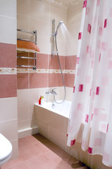 Purple and beige bathroom