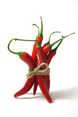 bunch of red hot chilli pepper, tied by rope