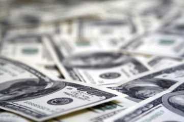 A lot 100 dollar bills extremly close