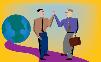 "Two businessmen ""high-five"" as they take on the world."