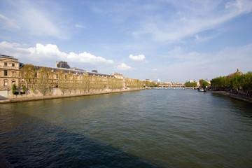 View up the Seine River, Paris, France