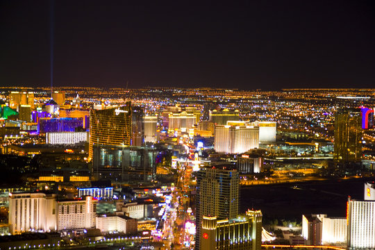 Las Vegas, Nevada, at night in USA