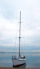 yacht near coastline