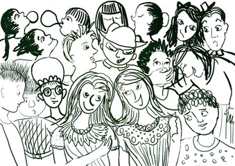 ilustration with many childrens talking and laughing