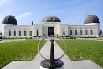 Newly renovated Griffith Observatory with sun dial in foreground