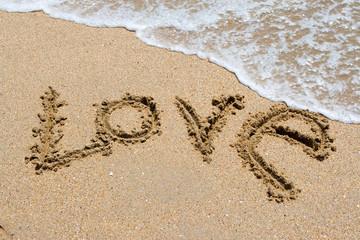 I love you written in the sandy beach.