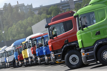 trucks on production line