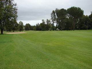 Green Golf Course on a cloudy day in the rainy season