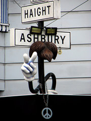Famous Haight street with Ashbury Street in San Francisco