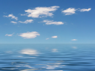 picture of a sunny blue sky with water reflections