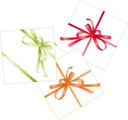Three presents. Red, orange, green ribbons, bows. Vector