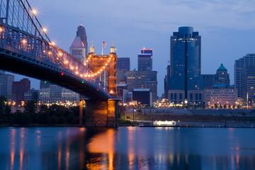 Cincinnati skyline and Roebling Suspension Bridge.