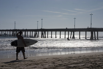 Venice Beach Pier and Surfer