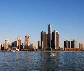 Waterfront panoramic view of city skyline