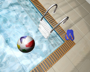 3D render of a beach ball on a swimming pool