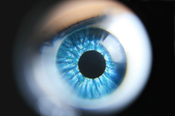 An extreme magnification of a blue plastic eyeball