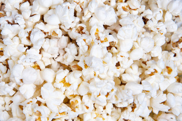 Closeup of oil popped popcorn (focus in the center)