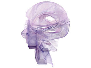 Rendered fractal abstract human head isolated over white
