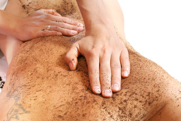 Cleaning skin massage with coffee grain ground