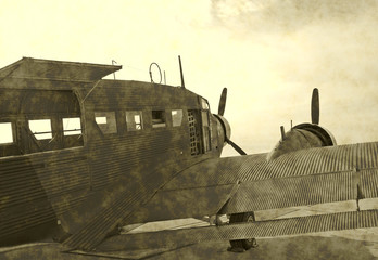 Wall Mural - Artificially aged photo of Nazi German airplane