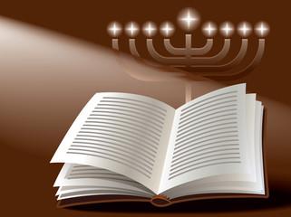 Jewish holiday: menorah, book and sunshine