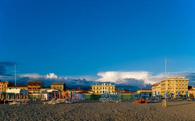 Sandy beach at sunset, Tuscany