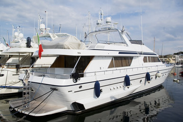 Motoryacht in the port of Viareggio